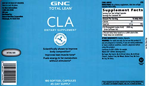 GNC Total Lean CLA, 180 Softgels, Supports Exercise and Muscle Recovery 2