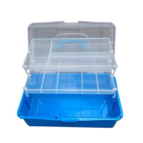 ROSENICE Scatola Cassetta portaoggetti Multifunzione in plastica con 2 Ripiani e Scomparti in Blu