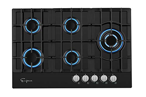 Empava 5 Italy Sabaf Burners Gas Stove Cooktop Black Tempered Glass EMPV-30GC5L70A, 30 Inch