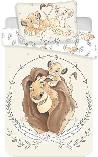 Disney, Il Re Leone, Simba e Mufasa, set di biancheria per lettino, copripiumino e federa, 100%...