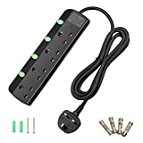 TISDLIP Extension Lead with Switch 4 Gang 1.8M Black Power Strips Wall Mountable