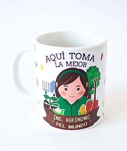 Taza Desayuno Aquí Toma la Mejor Ingeniero AGRÓNOMO del Mundo,Regalo Original,Ceramica 330 ML