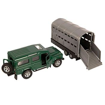 NEW 4X4 GREEN/ RED LAND ROVER CAR WITH SILVER LIVESTOCK TRAILER 1:43 SCALE TEAMSTERS