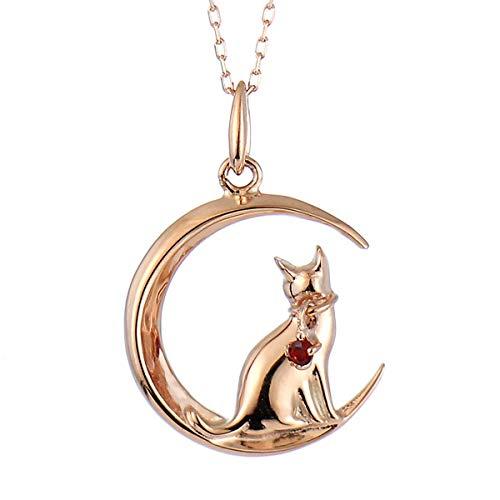 SUEHIRO ネコ ダイヤモンド ピンクゴールド ペンダント ネックレス 猫 1月 誕生石 ガーネット