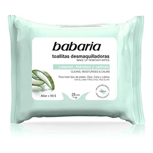 Babaria – Toallitas Desmaquillantes Aloe Vera – 25 Uds, Blanco