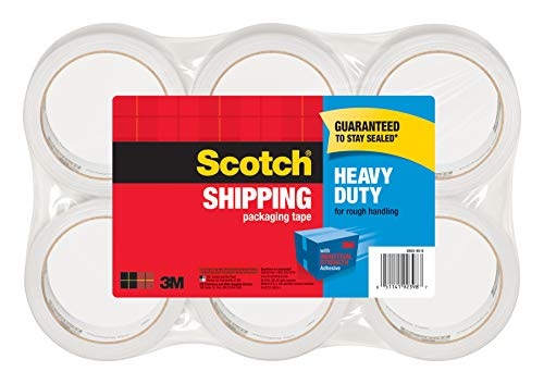 Scotch Heavy Duty Packaging Tape, 1.88 Inch x 54.6 yd, Designed for Packing, Shipping and Mailing, Guaranteed to Stay Sealed, 3 Inch Core, Clear, 6 Rolls (3850-6)