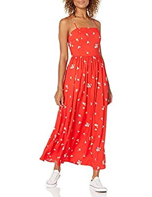Comfortable, flowy fit Silky-soft, fluid, and lightweight woven crepe Georgette fabric Maxi-length Square neckline Two front hand pockets An Amazon brand