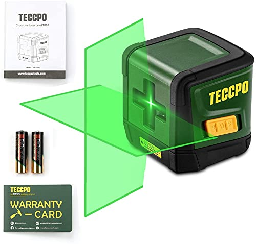 Line Laser Level TECCPO, 50ft Green Line Laser level, Self Leveling Tool, Cross Mode, Tilt mode,±3mm/10m Leveling Accuracy, 4s Quick Leveling, for Picture Hanging, Home Renovation