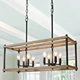 "KSANA Kitchen Island Lighting Farmhouse Chandeliers for Dining Rooms Faux-Wood Rectangular 26 "" in Length, Brown"
