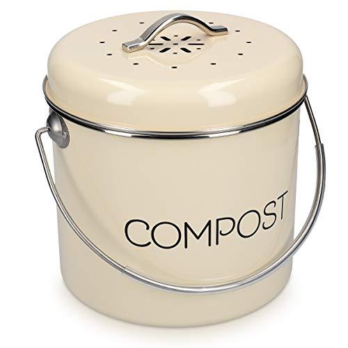 Navaris Komposteimer Mülleimer Abfalleimer für Biomüll - 3l Eimer Behälter für Müll - Bioabfallbehälter mit Schwenkgriff - inkl. Kohlefilter