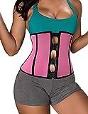 BRABIC Women's Neoprene Zipper & Buckle Underbust Cincher Waist Trainer Corset Sport Workout Body Shaper Tummy Control (M (US 6-8), Pink Sauna Waist Trainer)