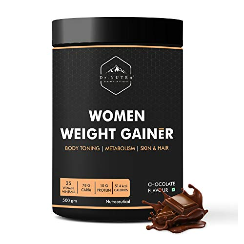 Dr. NUTRA Women Weight Gainer for Increase Breast Muscle, Weight Gain and Mass Gain for Women - 500gm , Chocolate Flavor