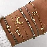 Edary Lot de 6 bracelets boho Étoiles et lune en perles et pierres précieuses bracelet fait à la main chaîne de main pour femmes et fille