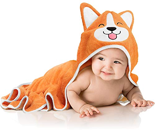 Baby Aves Premium Hooded Baby Towel, 100% Organic Bamboo, Free Washcloth,, Registry Gift, 35x35 for Newborns, Infants, Toddlers & Kids, for Boys & Girls at Bath, Pool & Beach (Orange)
