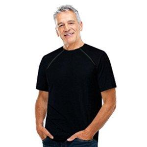 ComfyChemo CHEMOWEAR : Men's Short Sleeve Chemotherapy Port Zipper Shirt