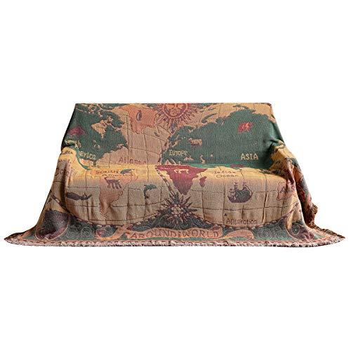 Yuehuam Coperta in Stile retr Etnica Vintage Floreale Copriletto in Cotone Copridivano Lavabile in Lavatrice per Divano Letto Sedia