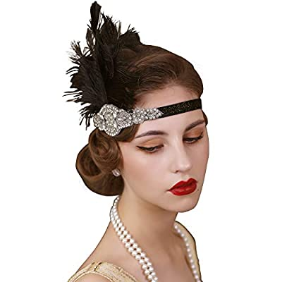 ✓ Design: The women's headband with its deco vintage design features a gorgeous black stretch headband with an attached balck feather that embellishes a sparkling silver rhinestone and deco centre. ✓ Size: Elastic sash width is 1cm(0.39inch); Vintage...