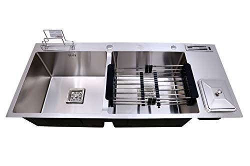 CROCODILE 304 Grade Stainless Steel Satin Finish Double Bowl Dustbin Handmade Kitchen Sink (45x20x10...