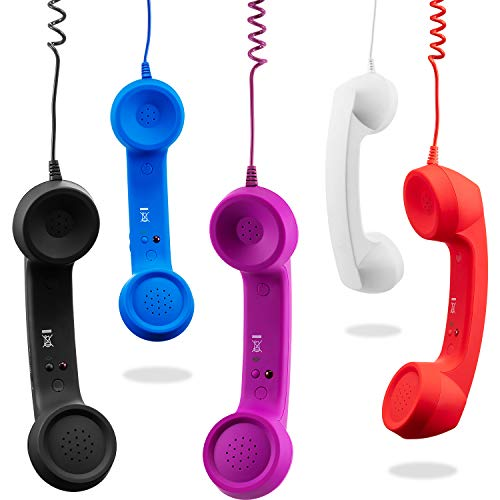 Frienda 5 Pieces Cell Phone Receiver Retro Telephone Handset Anti Radiation Handset Receiver for Mobile Phone Computer (Multicolor A)