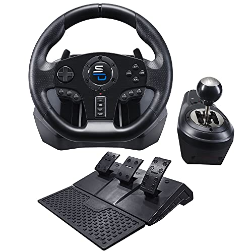 Superdrive - Volant De Course Gs850-X Avec Levier De Vitesse Manuel, 3 Pédales, Palettes de changement de Vitesse pour Xbox Serie X/S, Ps4, Xbox One, Pc (Programmable Pour Tous Les Jeux)