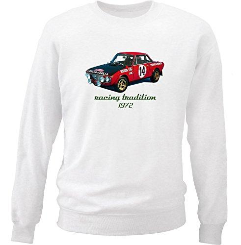 TEESANDENGINES Lancia Fulvia HF 1600 Montecarlo Felpa di Cotone Bianca Size XXLarge