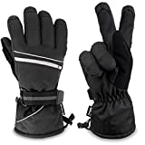 SUN CUBE Ski Gloves Men Women   Waterproof Breathable Snow Gloves   Windproof Winter Outdoor Snowboard Snowmobile Hiking Cycling   Warm Thermal Insulation 3M Thinsulate Zipper Pocket (Black, Medium)