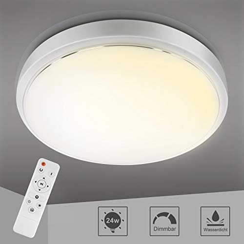 Yissvic Deckenleuchte LED Deckenlampe 24W Leuchte mit Fernbedienung 3000K-6000K Farbton Dimmbar IP44 Wasserdicht (Verpackung MEHRWEG)