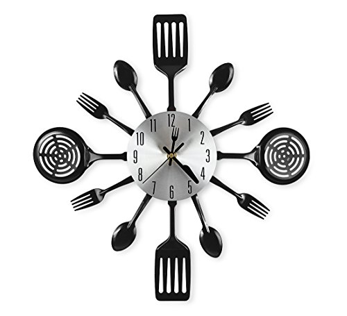 CIGERA 16 Inch Large Kitchen Wall Clocks with Spoons and...