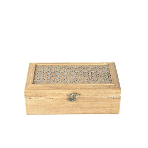 tapidecor Caja Madera Rectangular con TA PA Adorno Metal 23X14X8