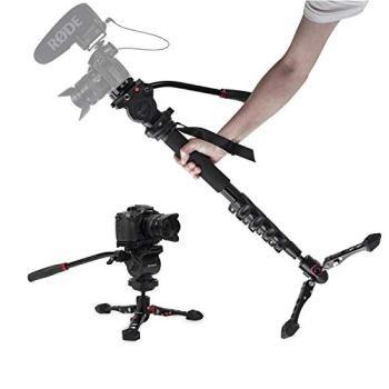 "Monopod for Cameras, ASHANKS 65"" Professional Aluminum Telescopic Lightweight Video Monopods with Tripod Base, 360° Panoramic Fluid Head, QR Plate, Max Load 11lbs for DSLR Camera Camcorders"