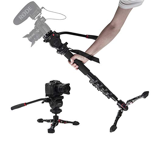"""Monopod for Cameras, ASHANKS 65"""" Professional Aluminum Telescopic Lightweight Video Monopods with Tripod Base, 360° Panoramic Fluid Head, QR Plate, Max Load 11lbs for DSLR Camera Camcorders"""