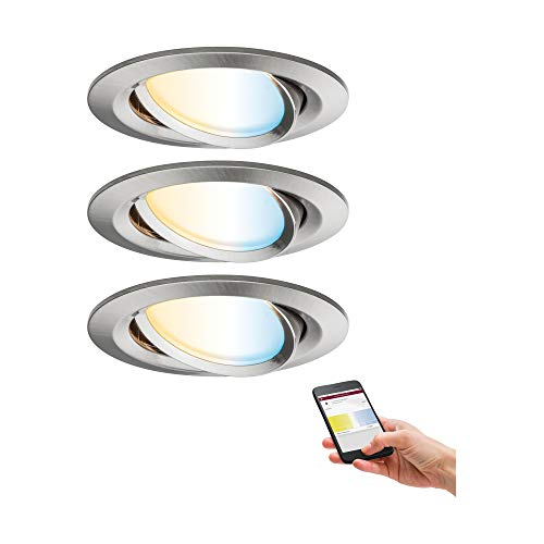 Paulmann 92962 Nova Plus LED Einbauleuchte SmartHome Zigbee Set rund schwenkbar incl. 3x6 Watt Tunable White dimmbar Einbaustrahler Eisen gebürstet Spot Alu Zink Einbaulampe 2700 K