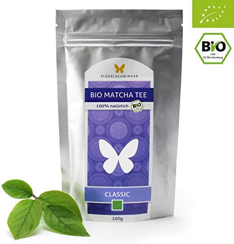 100g Bio-Matcha-Tee CLASSIC von FLÜGELSCHWINGER, 100{e13af1c738095a2423a0f8e893c8d5011e4ffbd3a3097bfea3830ad18c36ad30} Matcha ohne Zusätze, nach traditioneller Art in Steinmühlen gemahlen, Matcha, Pulver, CN-BIO-140 (100g)
