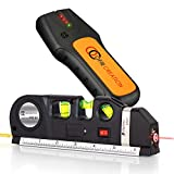 OFIRCREATION 3 in 1 Laser Level Cross Line Ruler With Measuring Tape Multipurpose Picture Hanging, Woodworking, Contractor Tool Imperial & Metric Measurements Vertical & Horizontal BONUS Stud Finder