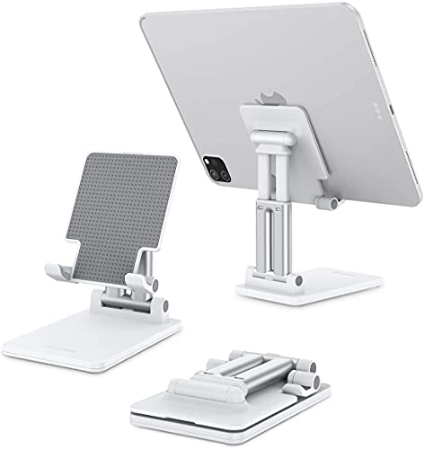 Sounce Desktop Mobile Phone Stand + Tablet Stand, Mobile Holder, Adjustable & Foldable Mobile Stand, Aluminum Stand Holder for Mobile Phone and Tablet (Up to 15.6 inch) - White