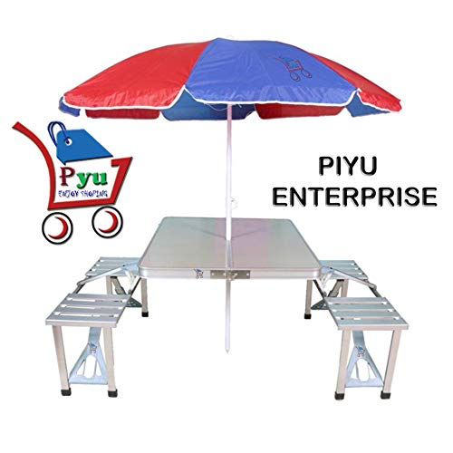 P YU Outdoor Aluminum Portable Folding Camp Suitcase Picnic Table with 4 Seats with Umbrella Heavy Duty Aluminium Portable Folding Picnic Table & Chairs Set with Umbrella