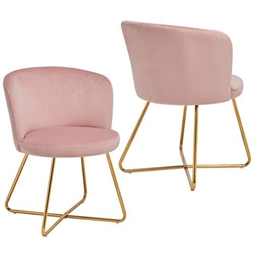 Duhome 2X Sedia da Sala da Pranzo Rosa Chiaro Tessuto (Velluto) Sedia Imbottita Design Retro Vintage...