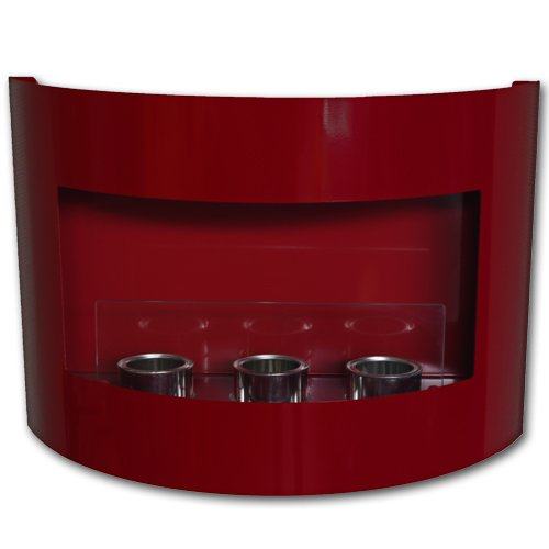 Design Fireplace RIVIERA Bio Ethanol Gel Fire Place with Safety Glass (Red)