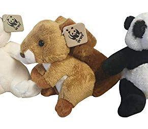 WWF Plush Figures Collection Set de 3 en una Caja de Regalo con una Ardilla, un Oso Polar y un Oso Panda
