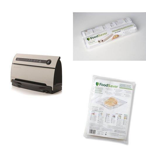 FoodSaver V3840 Macchina Sigillatrice per Sottovuoto + Rotolo Termosigillabile, 28 x 5.5 m, 2 Pezzi + Sacchetti Termosigillabili, 20 x 29 cm, 48 Pezzi