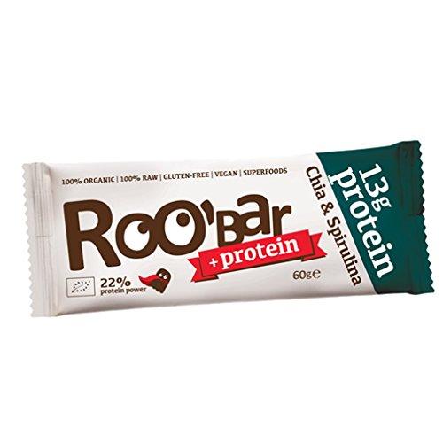 ROOBAR Protein Chia & Spirulina 60g Rohkost-Riegel mit Superfoods (bio, roh, vegan, glutenfrei)