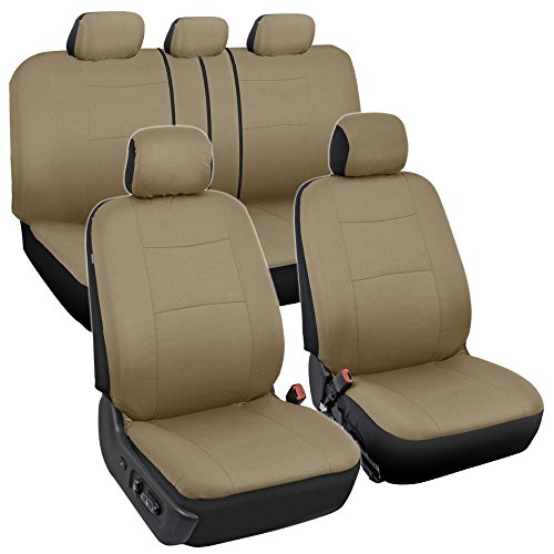 BDK PolyPro Car Seat Covers, Full Set in Solid Beige – Front and Rear Split Bench Protection, Easy to Install, Universal Fit for Auto Truck Van SUV