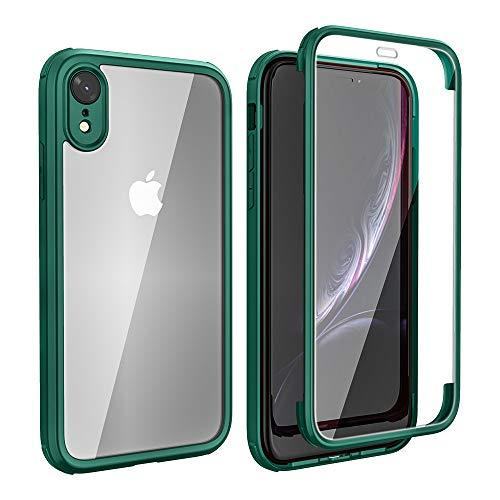 FMPCUON Custodia Integrale Compatibile con iPhone XR, Sottile Bumper Cover Telefono Cellulare Protezione 360° Corpo Intero - Fronte & Retro Case Protettiva con Vetro Temperato 9H, Verde