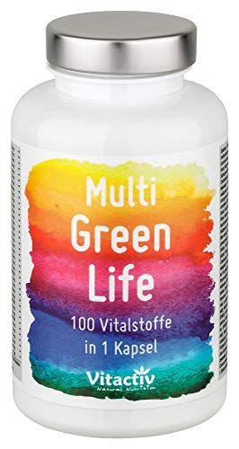 MULTI GREEN LIFE Vitamine & Mineralien, 100 hochdosierte Green Food Multivitamine, mit u.a. Vitamin A, B12, C, E, Folsäure, Zink, Eisen und Magnesium, Premium Nahrungsergänzungsmittel (90 Kapseln)