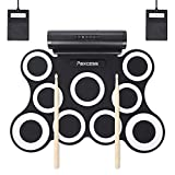 PAXCESS 9 Pads Electronic Drum Set, Electric Drum Set with Headphone Jack, Built in Speaker and Battery, Drum Stick, Foot Pedals, Best Gift for Christmas Holiday Birthday