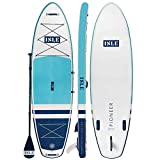 ISLE Pioneer Inflatable Stand Up Paddleboard & iSUP Bundle Accessories & Backpack — Wide Stance, Durable, Lightweight — 285 lbs Capacity (Teal Blue, 10'6' x 34' x 6')