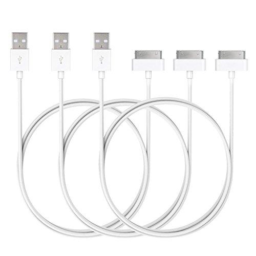 JETech J0166 - Cavo USB di Sync e Caricamento con 30-Pin per iPhone 4s iPhone 4, iPad 1 2 3, iPod, 1 metro, Bianco, Confezione da 3
