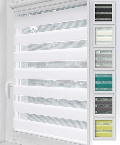 Home-Vision Duo Rollo Klemmfix, Doppelrollo ohne Bohren mit Klämmträgern, Rollos für Fenster und Türen (Weiß, B40cm x H150cm)