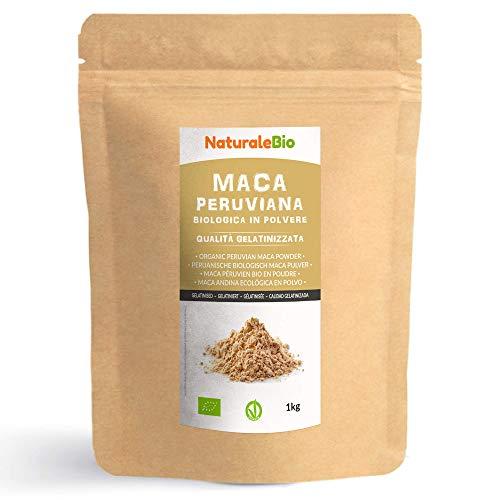 Maca Peruviana Biologica in Polvere [ Gelatinizzata ] 1 kg. 100% Naturale e Pura, Prodotto in Perù dalla Radice di Maca Bio. NaturaleBio