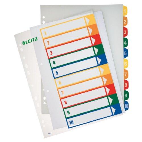 Leitz Register für A4, PC-beschriftbares Deckblatt und 10 Trennblätter, Taben mit Zahlenaufdruck 1-10, Überbreite, Weiß/Mehrfarbig, Polypropylen, 12930000